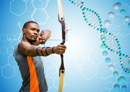 Digital composite of archer man with blue and white dna chain in a blue background.
