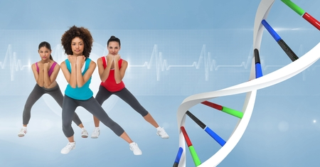 Digital composite of aerobic women with colors dna chain. Blue background