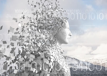 snowcapped mountain: Digital composite of White binary code against white male AI and snowy mountain tops Stock Photo