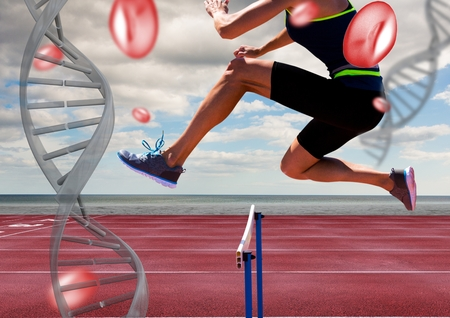Digital composite of athlete jumping the hurdle with dna chains