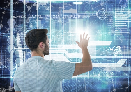 touch sensitive: Digital composite of futuristic interface behind a man doing things in it