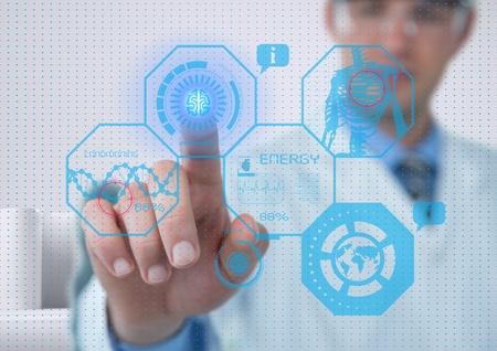 Digital composite of futuristic medician room interface