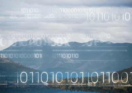 rural development: Digital composite of White binary code against mountain and water
