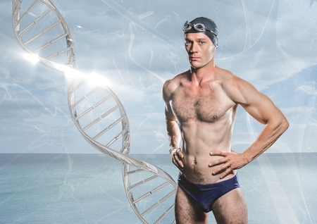bacteria cell: Digital composite of swimmer with silver dna chain in front of the sea