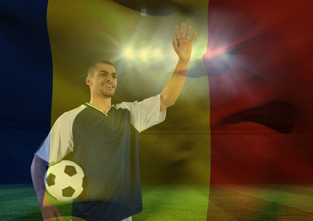 Digital composite of soccer player weaving at the fans superimpose with flag Stock Photo