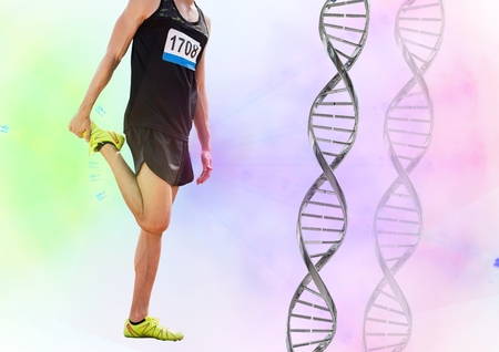 Digital composite of athlete  with dna chain and green and pink flares Stock Photo