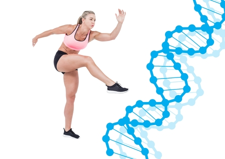 Digital composite of sporty woman with blue dna chain. White background