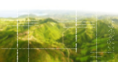 Digital composite of White code against green blurry mountains Stock Photo
