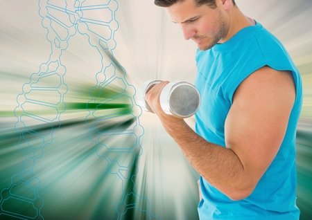 Digital composite of man lifting weigth with outline of dna chain and white and green background
