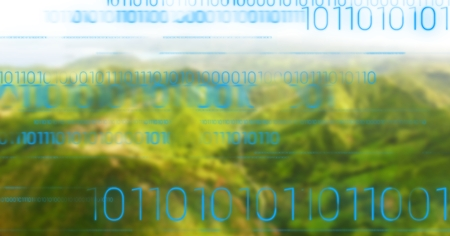 Digital composite of Blue binary code against green blurry mountains