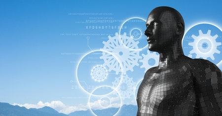 companionship: Digital composite of White gear graphics and black male AI against mountain tops Stock Photo