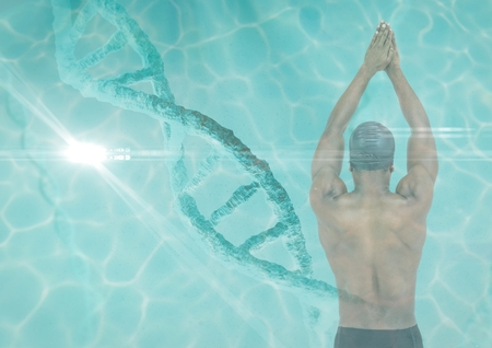 Digital composite of swimmer in swimming pool with a dna chain and pool superposition