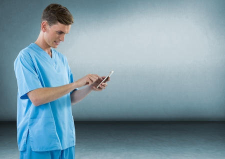 Digital composite of Doctor with a mobile phone against grey background