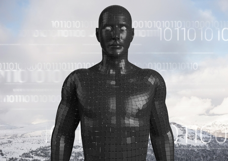 Digital composite of White binary code against black male AI and snowy mountain tops