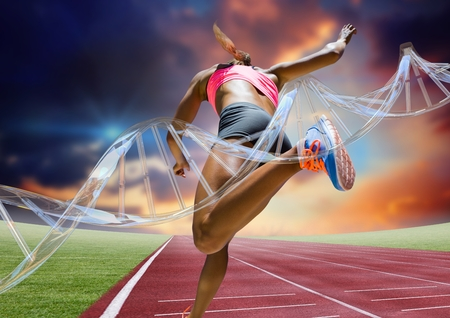 Digital composite of athlete running on the track behind dna chain