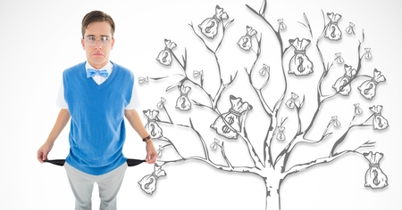 Digital composite of sad young man with empty pocket and a money tree background Stock Photo