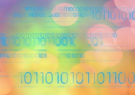 Digital composite of Blue code against multi-coloured bokeh