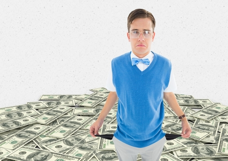 Digital composite of a sad young man with empty pocket on a money floor