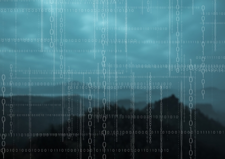 Digital composite of White binary code against mountains at night