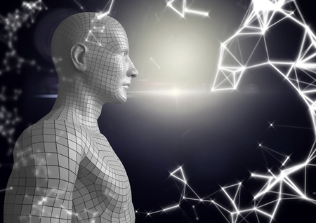 en pointe: Digital composite of White network and white male AI against dark background and flare Stock Photo