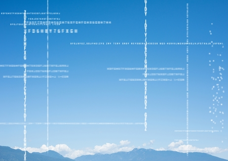 Digital composite of White code against mountain tops