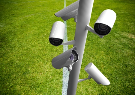 american field service: Digital composite of cctv on the grass