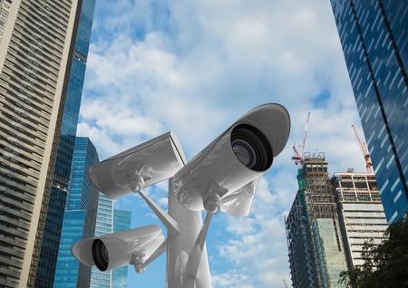 baton: Digital composite of the top of the CCTV stick control buildings