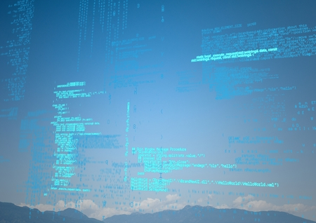 Digital composite of Blue code against mountain tops