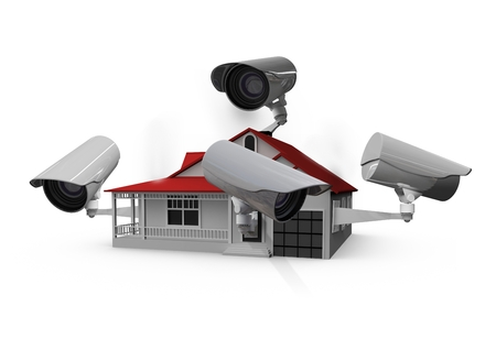 Digital composite of CCTV on a house Stock Photo