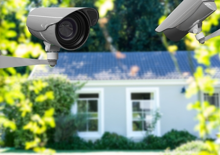 Digital composite of 2 CCTV looking after the house and a blurred background
