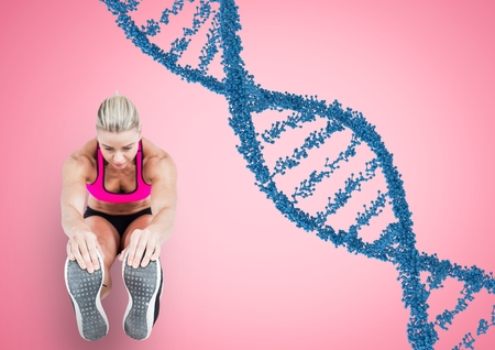 Digital composite of woman doing streching with blue dna chain and pink back.