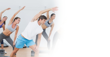 Digital composite of People stretching and white transition