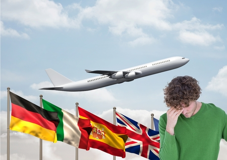 Digital composite of main language flags behind young man. Plane behind