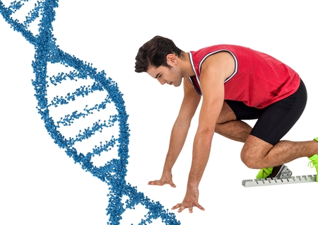 Digital composite of Runner with blue dna chain in white background