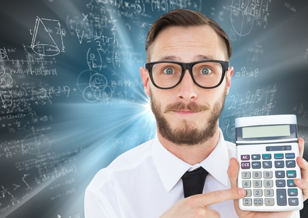 Digital composite of Man with calculator against blue motion blur with math doodles