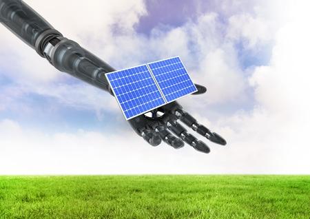 De digitale samenstelling van zonnepaneel op robot dient gebied in