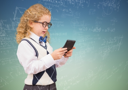 Digital composite of Girl with calculator and math doodles against blue green background