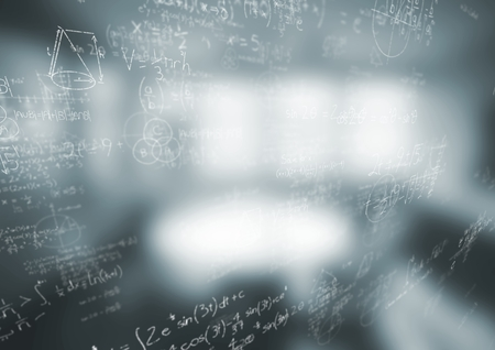 Digital composite of White math doodles and blurry grey office Stock Photo
