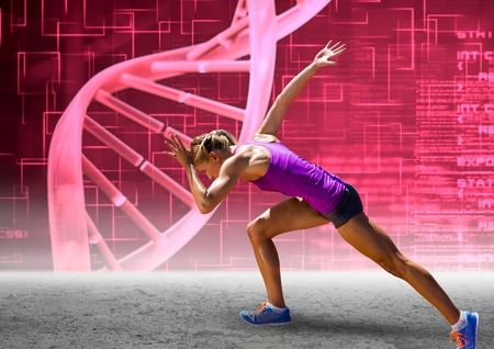 Digital composite of Runner with pink dna chain wall Stock Photo