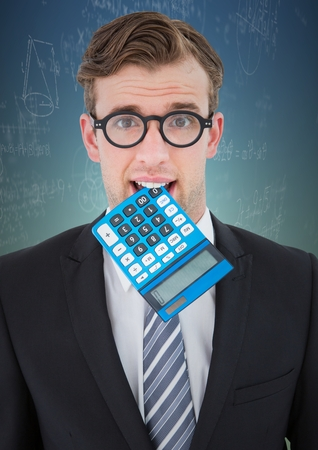 Digital composite of Man with calculator in mouth against math doodles and blue green background