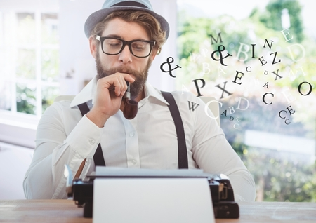 Digital composite of Hipster man  on typewriter with letters and bright windows