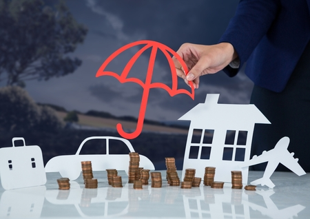 Digital composite of Cut outs Insurance with woman holding umbrella protection
