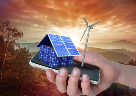Digital composite of solar panel house and windmill on hand with mountains behind