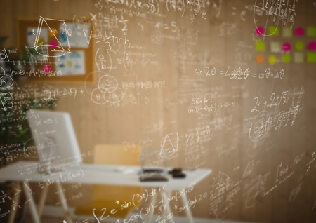Digital composite of White math doodles and blurry office