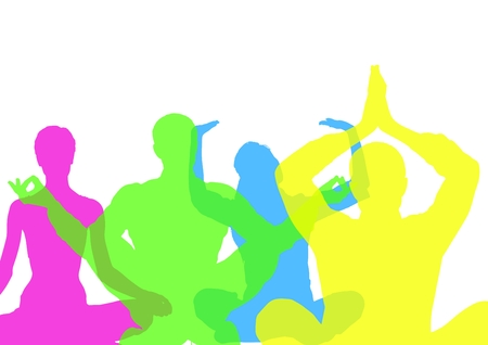Digital composite of Intense color silhouettes doing yoga  with opacity. White background Stock Photo