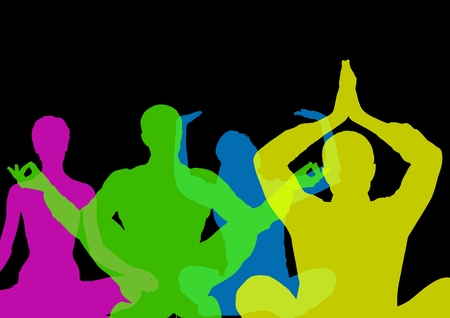 cross legged: Digital composite of Intense color silhouettes doing yoga  with opacity. Black background Stock Photo
