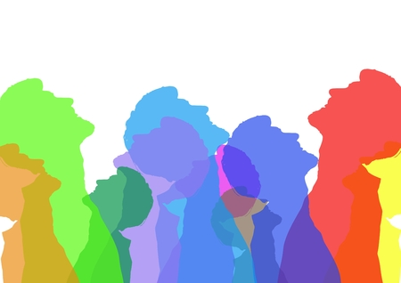 Digital composite of Intense color silhouettes of a man looking up . White background Stock Photo