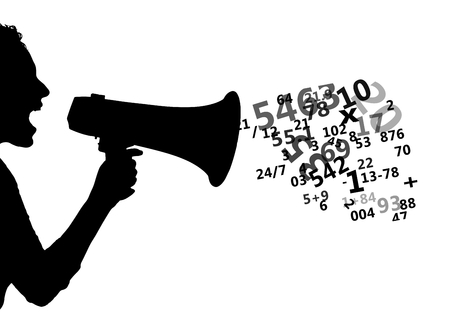 Digital composite of someone shouting with the megaphone silhouette with numbers coming up from the megaphone. White back