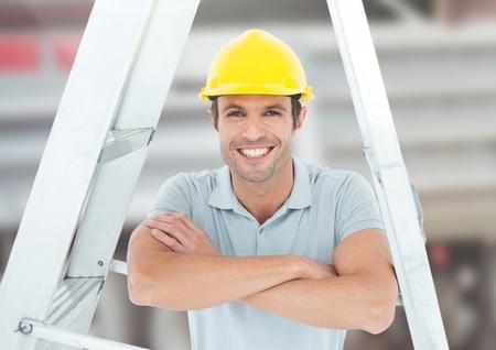 建設現場の前ではしごの下で建設労働者のデジタル合成 写真素材