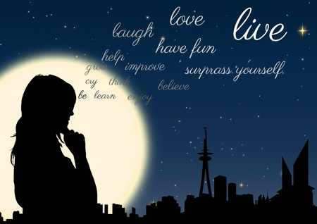 hand on chin: Digital composite of woman silhouette at night in front of the moon with words coming up from her Stock Photo